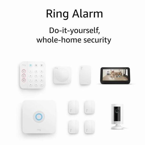 第二代 All-new Ring Alarm 专业家庭全屋安防监控系统+智能摄像头套装 359.99加元包邮!送价值99.99加元Echo Show 5智能显示器!