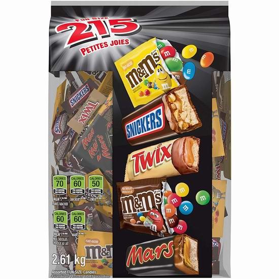 金盒头条:MARS 万圣节巧克力糖果超值装(215个/2.61公斤) 24.49加元