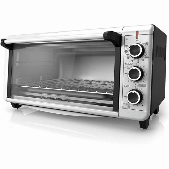 历史最低价!BLACK+DECKER TO3240XSBD 8-Slice 超宽不锈钢电烤箱5折 79.99加元包邮!