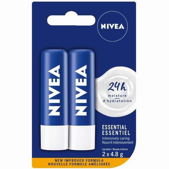 NIVEA Essential 深层滋润保湿唇膏2支装 2.83加元!