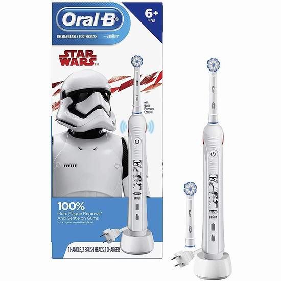 网购周头条:历史最低价!Oral-B 星球大战版 压力感应 儿童电动牙刷5折 59.99加元包邮!带2个刷头!