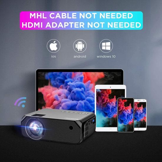 Bomaker Wi-Fi 原生720P Wi-Fi无线 LED家庭影院投影仪 139.99加元包邮!送价值59.99加元投影幕布或三脚架!