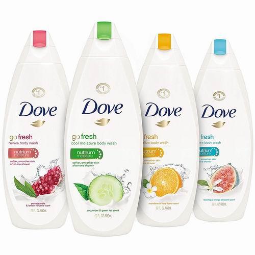 Dove 清爽沐浴露 354毫升 2.88加元(原价 5.99加元),多种味道可选