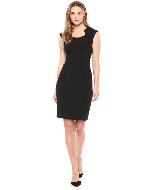 白菜价!Calvin Klein女士前皱连衣裙 38.89加元(4size)+包邮!