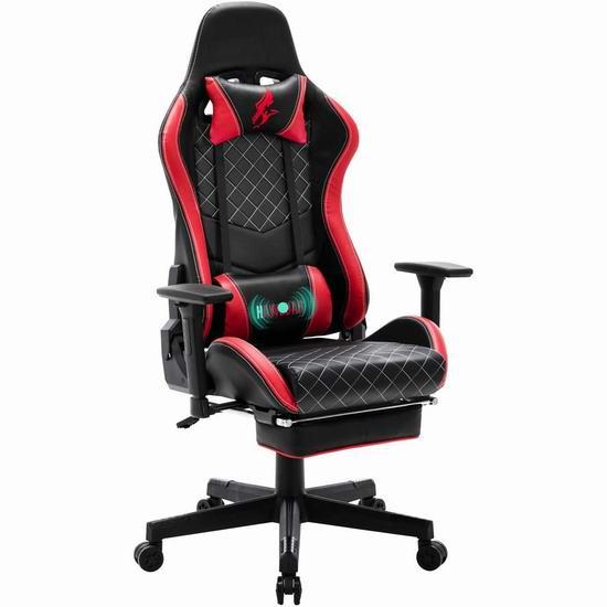 HAWGUAR 人体工学 高靠背赛车办公椅/游戏椅 169.99加元限量特卖并包邮!3色可选!
