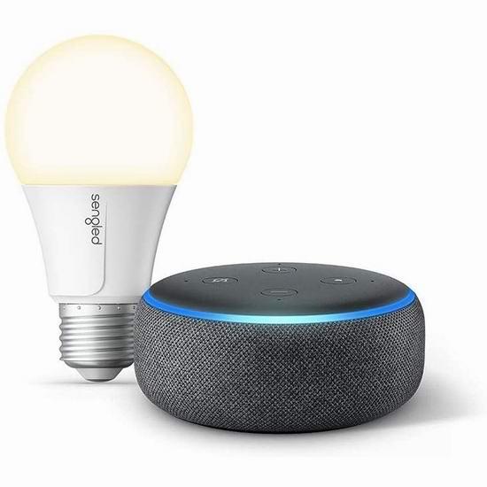 历史最低价!Echo Dot 亚马逊第三代智能家居语音机器人3.6折 24.99加元+送智能灯泡!4色可选!