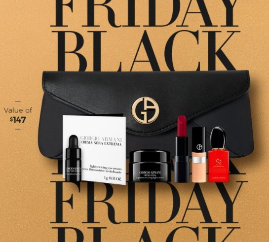 Giorgio Armani 阿玛尼黑五大促!全场5折起+买一送一+满送价值147加元7件套大礼包!入圣诞倒数日历、黑钥匙系列!
