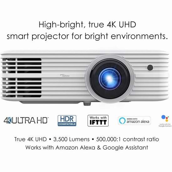 网购周头条:历史新低!Optoma UHD52ALV 真4K超高清 家庭影院 智能投影仪 1975加元包邮!