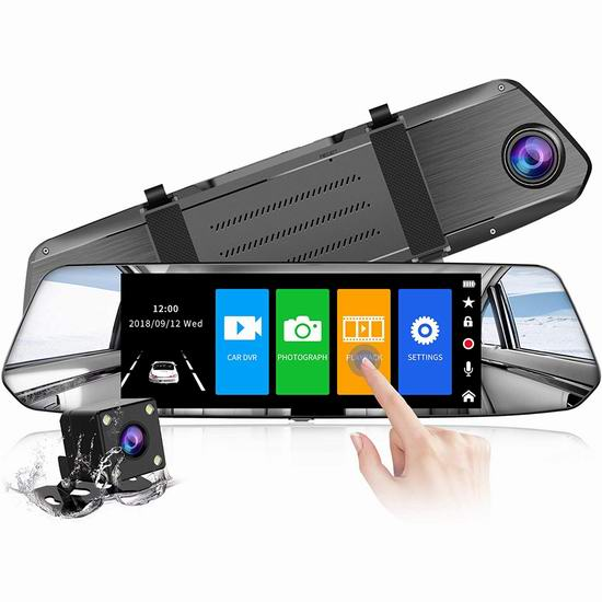 CHORTAU 1080P 全高清广角 7英寸超大屏幕 触控后视镜行车记录仪+倒车后视摄像头 69.99加元包邮!
