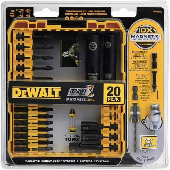近史低价!DeWalt 得伟 DWA2T20C Flex Torq 螺丝头20件套4.8折 19.99加元!