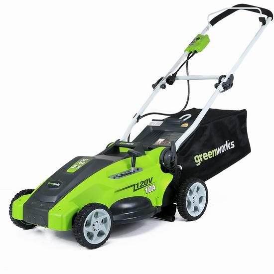 历史新低!Greenworks 25142 10安培 16英寸 二合一电动割草机4.9折 159加元包邮!