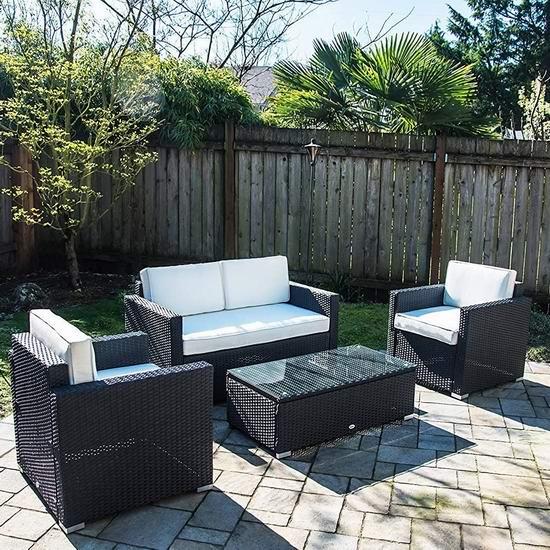 Outsunny 庭院软垫藤条沙发+茶几4件套5折 499.99加元包邮!