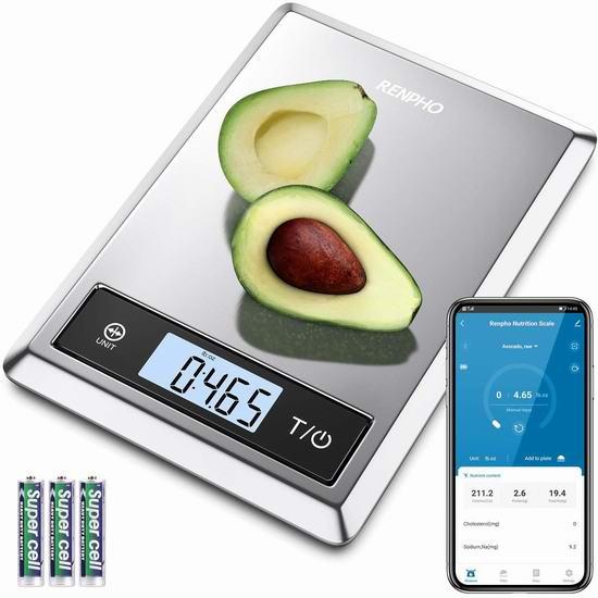 RENPHO 食物营养 蓝牙智能分析秤 22.09加元限量特卖!