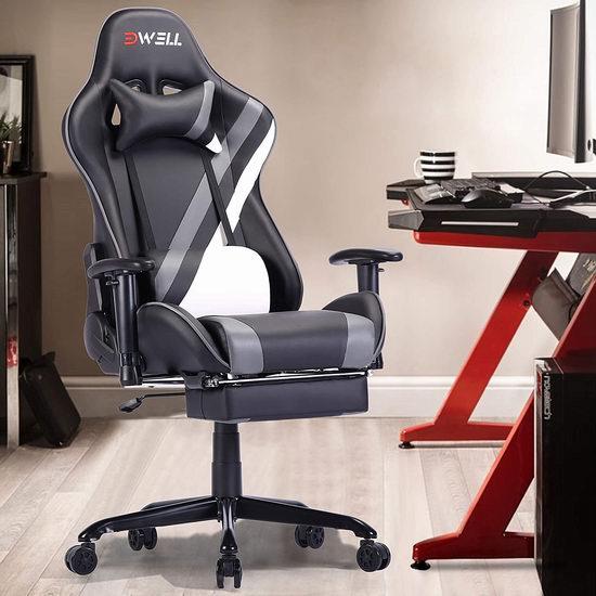 EDWELL 人体工学 高靠背赛车办公椅/游戏椅 169.99-195.49加元限量特卖并包邮!多色可选!