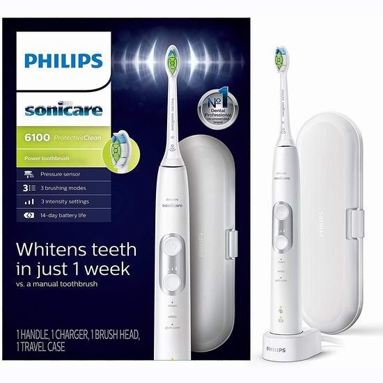 历史最低价!Philips 飞利浦 Sonicare 6100系列 声波震动 美白电动牙刷 99.95加元包邮!