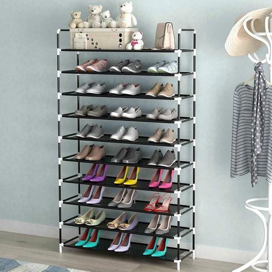 QooWare 10层1.75米超大容量鞋架 39.99加元限量特卖并包邮!