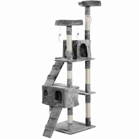 PawHut 67英寸 豪华猫树公寓/猫爬架 81.63加元限量特卖并包邮!