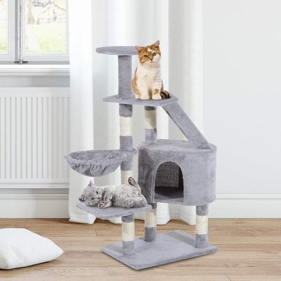PawHut 49.2英寸多层猫树公寓/猫爬架 66.99加元包邮!2色可选!