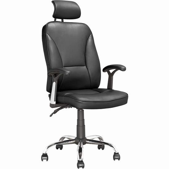 历史新低!CorLiving LOF-609-O 黑色人造革高靠背旋转办公椅 149.99加元包邮!
