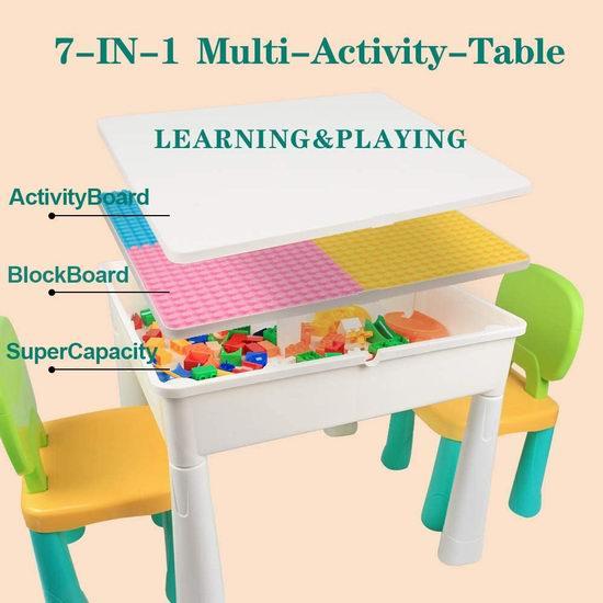 历史新低!KIDCHEER 七合一 多功能积木游戏桌套装 69.99加元包邮!送230pcs积木!会员专享!
