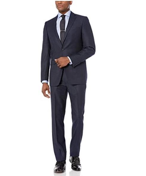 Calvin Klein 男士100%羊毛双扣西装套装 174.1加元(40R),原价 350.99加元,包邮