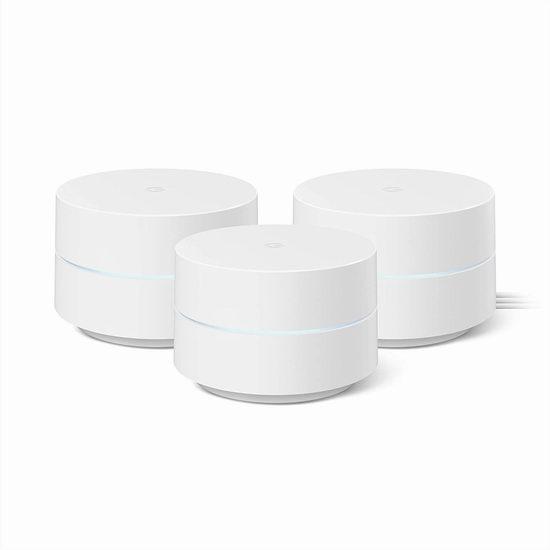 历史新低!Google Mesh WiFi网格 无线路由器3件套5.3折 233.5加元包邮!无死角覆盖5000尺大宅!