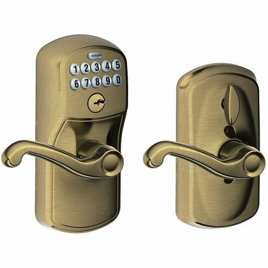 Schlage 西勒奇 FE595 V PLY 609 FLA 家用电子密码门锁 110.97加元包邮!