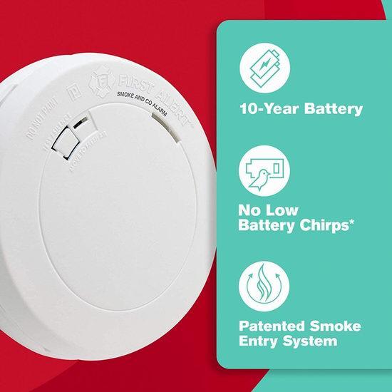 白菜价!历史新低!First Alert PRC710A-6 10年电池 一氧化碳/烟雾 二合一 超薄探测报警器3.1折 19加元清仓!