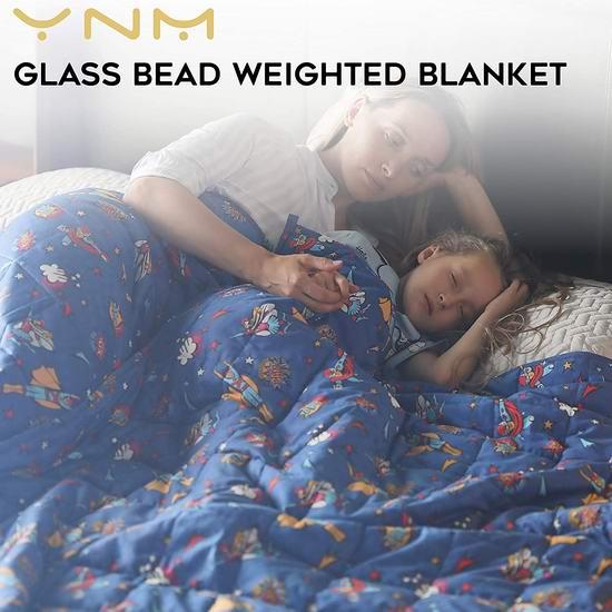 YnM 15磅 60x80英寸 Queen玻璃珠减压重力被 64.51加元包邮!缓解焦虑助眠神器!