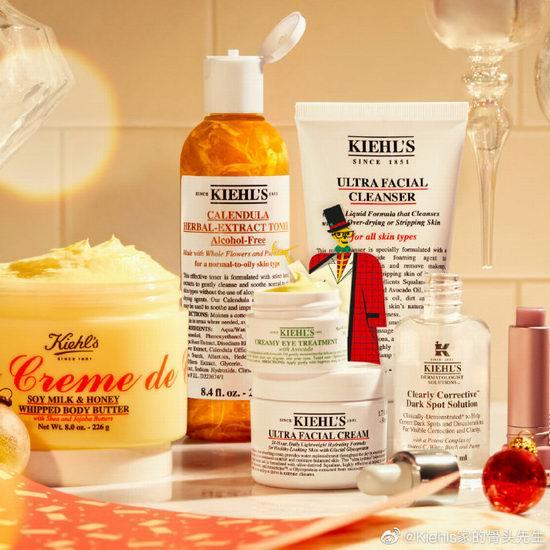 Kiehls 科颜氏美白淡斑精华、高效保湿霜、金盏花化妆水、夜间修复精华、经典身体乳买一送一+满送面部按摩玉辊!