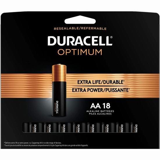 历史新低!Duracell 金霸王 Optimum AA碱性电池18件套3.2折 11.49加元!