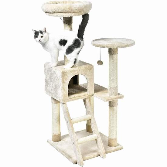 历史新低!AmazonBasics 50英寸多层猫树公寓/猫爬架 81.59加元包邮!