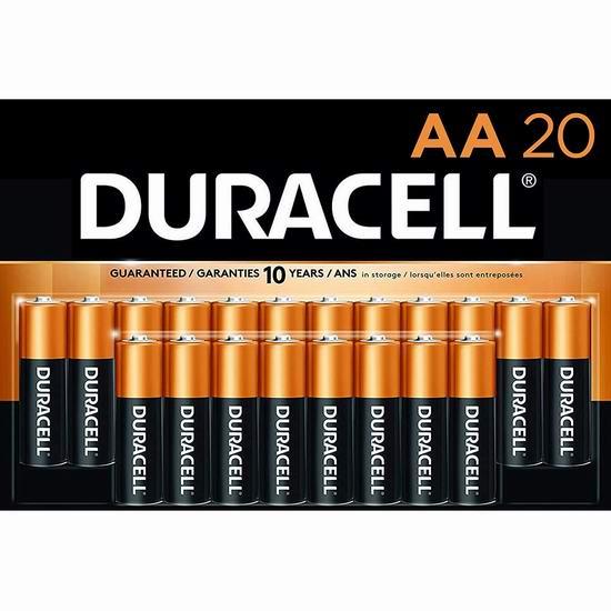 Duracell 金霸王 CopperTop AA碱性电池20件套 15.19加元包邮!