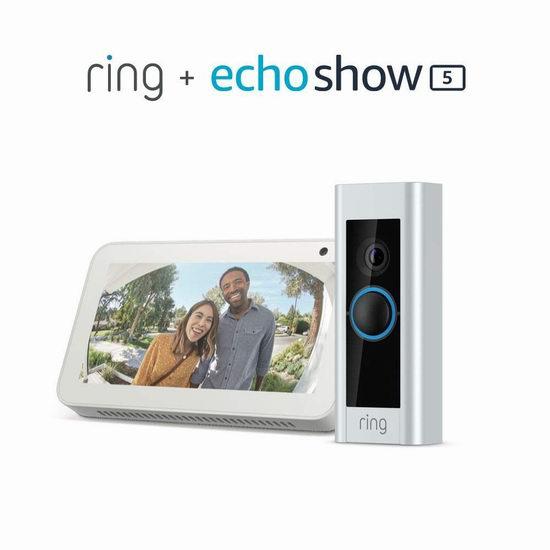 历史新低!Ring Pro 第二代1080P全高清WiFi智能门铃 199.99加元包邮!送价值99.99加元Echo Show 5智能显示器!