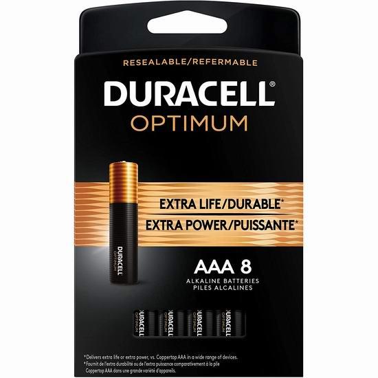 精选多款 Duracell 金霸王 Optimum AA/AAA碱性电池套装7.3折起!