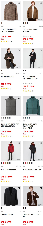 Uniqlo大促:羽绒服79.9加元、保暖内衣19.9加元、抓绒夹克29.9加元