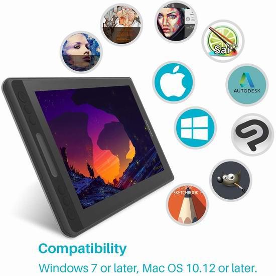 HUION 绘王 Kamvas 凯卓 Pro 12数位屏 便携型手绘屏 284.74加元限量特卖并包邮!
