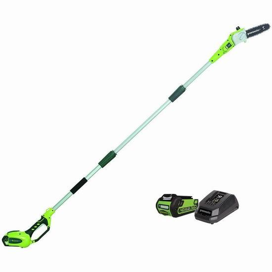 历史新低!Greenworks 40伏 8.5英寸 无绳长杆树枝修剪锯5.4折 124.99加元包邮!