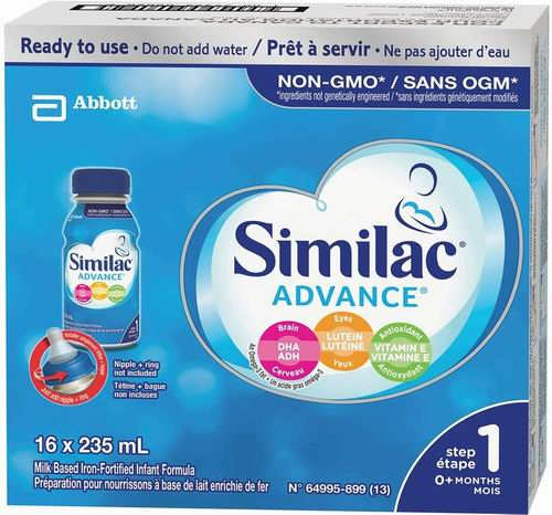 Similac 升级版 1段 omega-3 and omega-6非转基因 婴儿配方液态奶 235毫升×12瓶 37.99加元