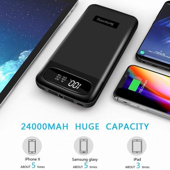 Becharming 24000mAh 便携式移动电源/充电宝 25.19加元!