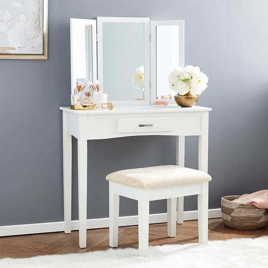 Frenchi Home Furnishing 白色实木梳妆台桌椅2件套4.9折 171.42加元包邮!