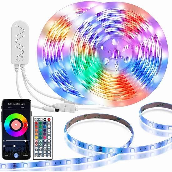 历史新低!TaoTronics TT-SL215 32.8英尺 WiFi智能 可随音乐变化 LED炫酷背景灯条 28.78加元!