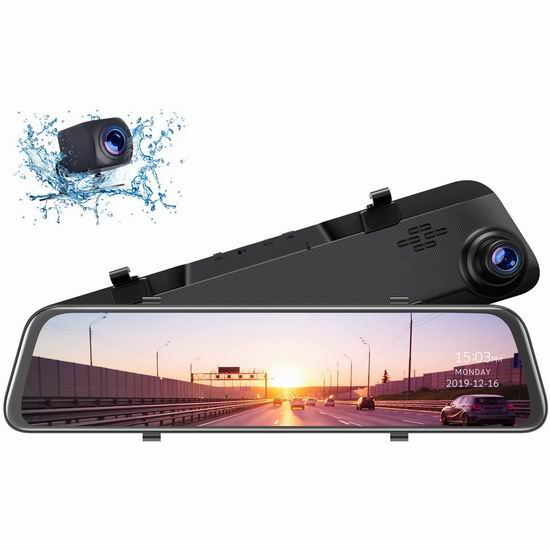 TOGUARD 2.5K超高清广角 12英寸 GPS 智能语音 触控后视镜行车记录仪+倒车后视摄像头 127.49加元限量特卖并包邮!