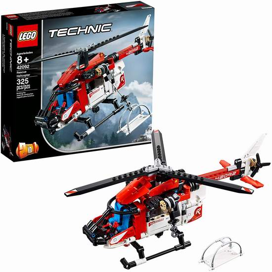 LEGO 乐高 42092 机械组 二合一 救援直升机(325pcs)42.48加元包邮!