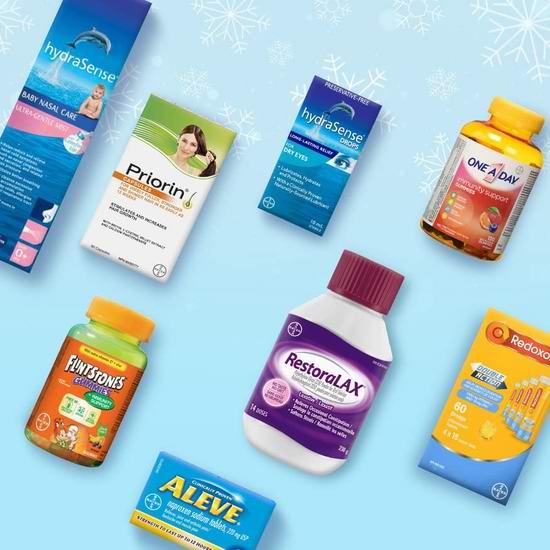 精选 Bayer、hydraSense、Claritin、OMRON 鼻腔喷雾、眼药水、止痛药、排毒冲剂、生发胶囊、维C泡腾片、过敏药、维生素等特价销售,满40加元立减10加元!