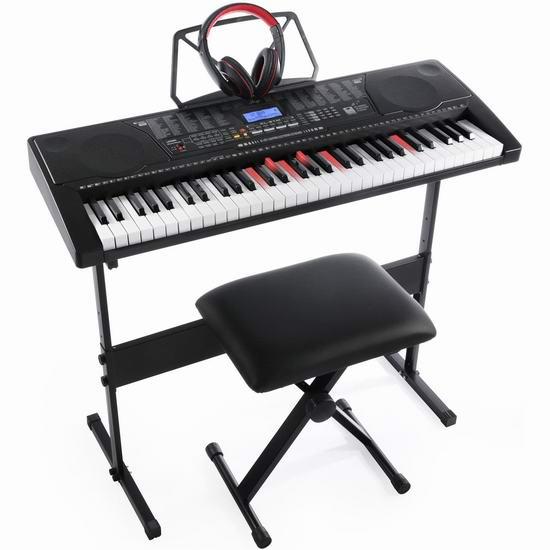 历史新低!Joy Kl-91MKit 发光琴键 61键电子琴+琴架+琴凳+耳机套装4.9折 110.41加元包邮!