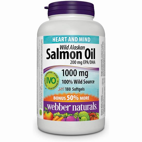 历史新低!Webber Naturals Wild Alaskan Salmon 阿拉斯加野生深海鱼油(1000mg x 180粒) 10.99加元!