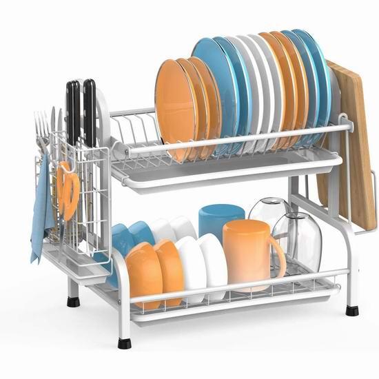 BuyAgain 304不锈钢 双层餐具沥水架 46.99加元包邮!4色可选!