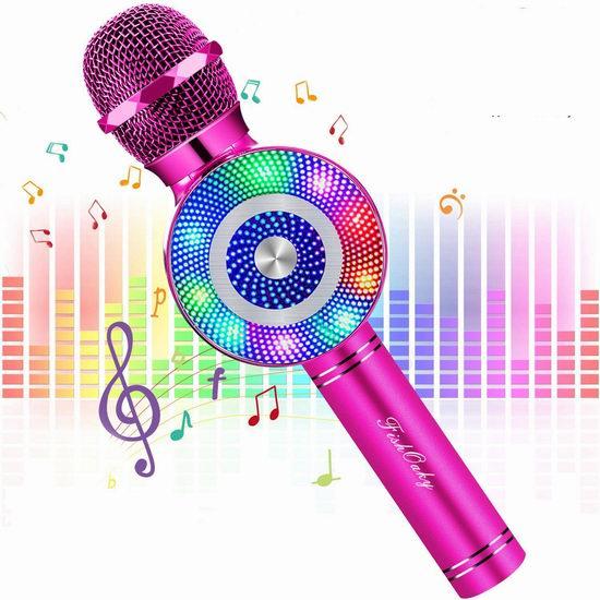 FISHOAKY 炫酷彩灯 一体式无线掌上KTV/变声话筒/蓝牙音箱/麦克风 23.49加元!