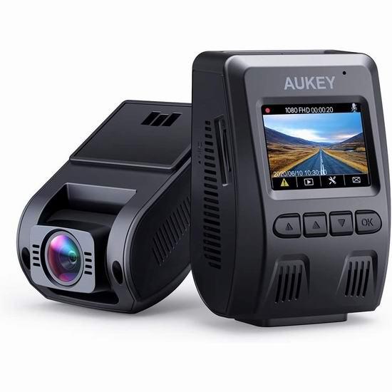 AUKEY 1080P高清170度超广角夜视 行车记录仪 74.79加元限量特卖并包邮!